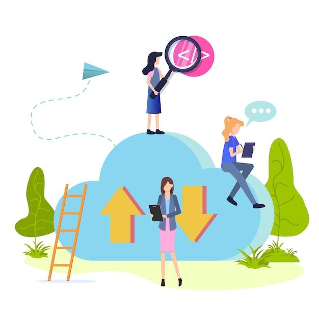 People work and search cloud storage flat cartoon Premium Vector