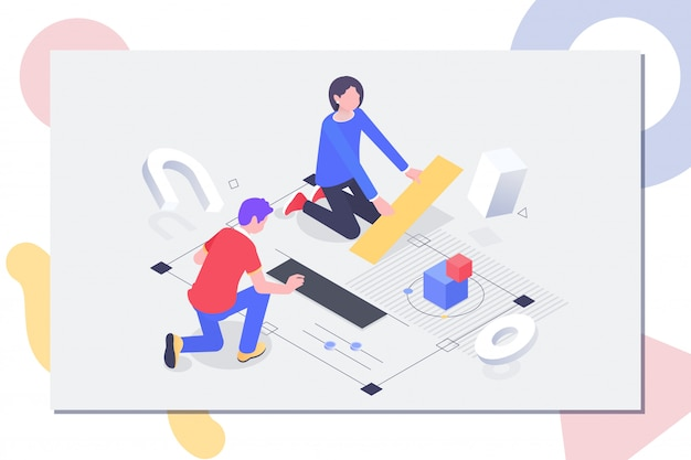 People work in a team and achieve a goal Premium Vector