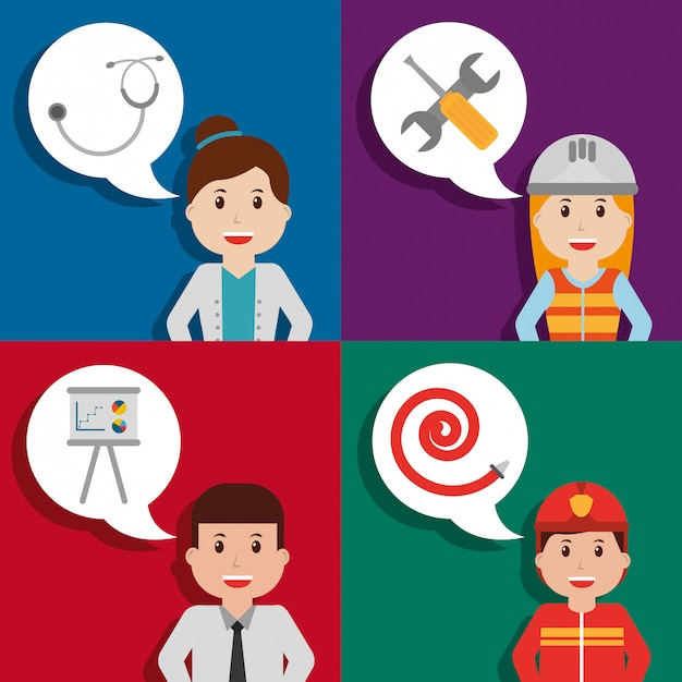People worker profession card Premium Vector