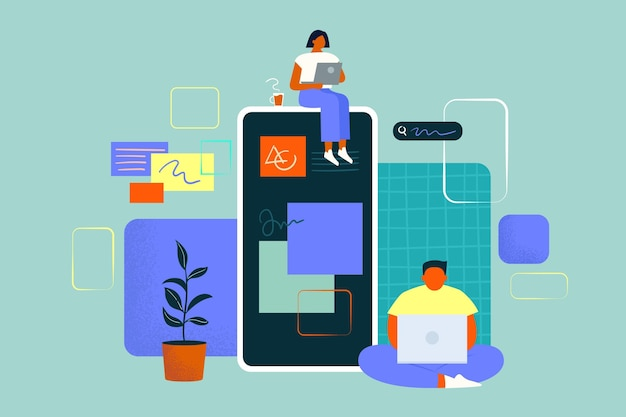 People working on an app together Free Vector