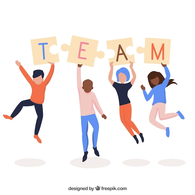 People Working As A Team Background In Flat Style Free Vector