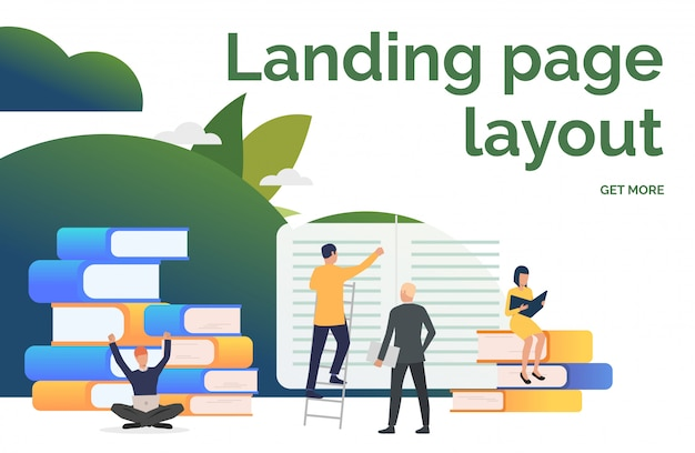 People working on books presentation slide Free Vector