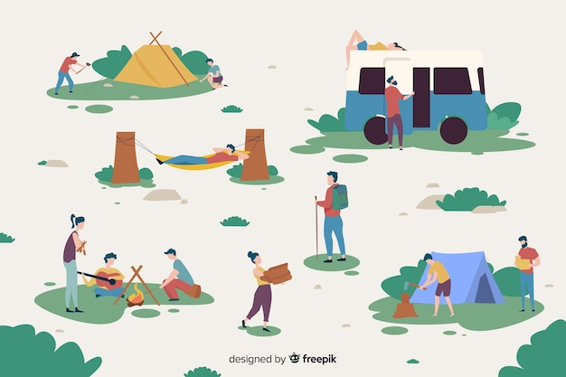 People working on a camping site Free Vector