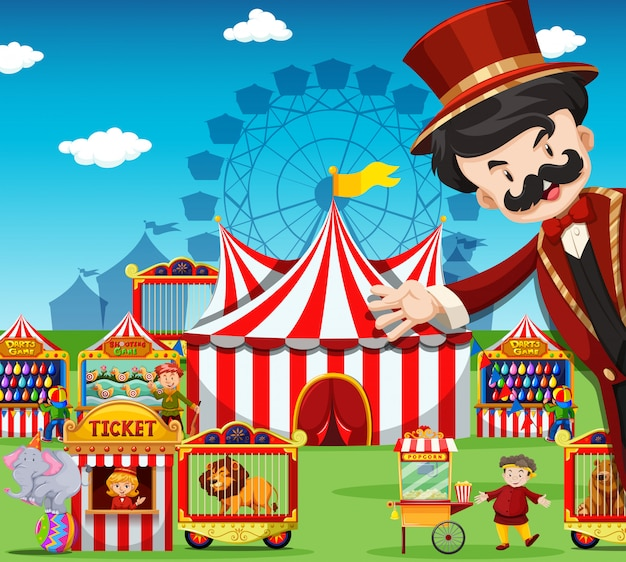 People working at the circus Free Vector