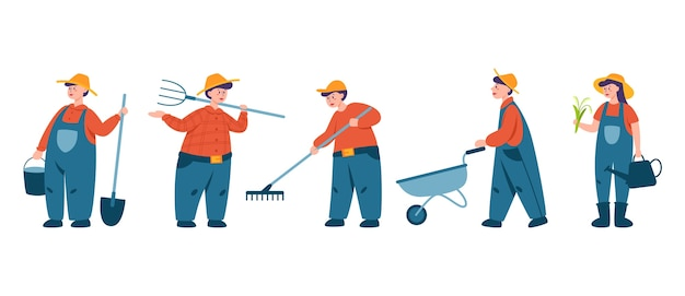 People working on a fram set. farmers working on the field with pitchfork and shovel. living in the village. isolated vector flat illustration Premium Vector