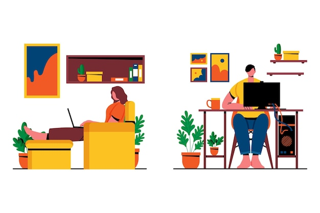 People working from home scenes Free Vector