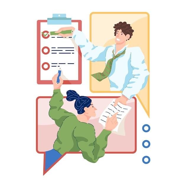 Люди, работающие дома с онлайн-приложением Бесплатные векторы