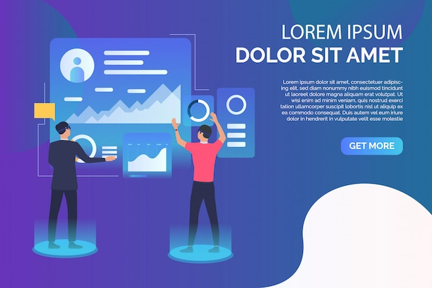 People working on futuristic virtual screens and sample text Free Vector
