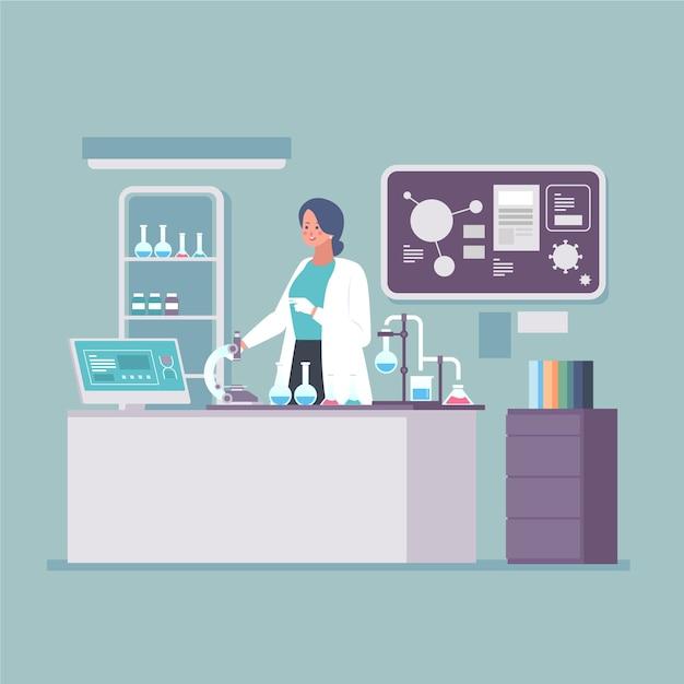研究室で働く人々イラストコンセプト 無料ベクター
