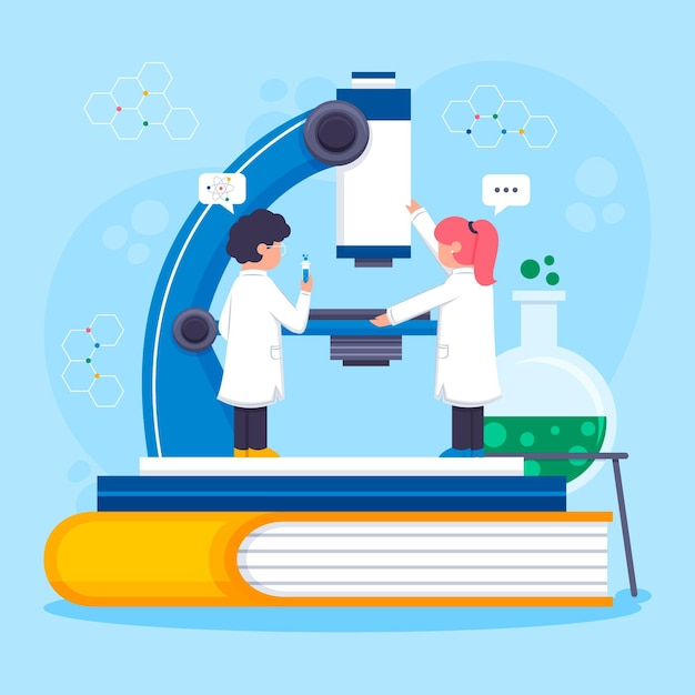 People working in a lab with microscope Free Vector