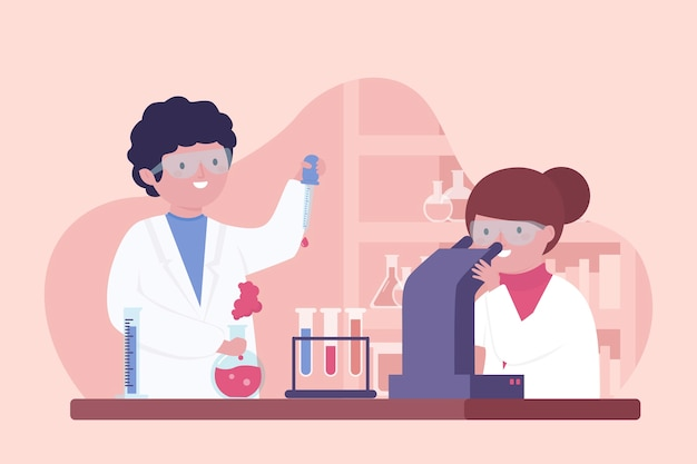 People working in laboratory Free Vector