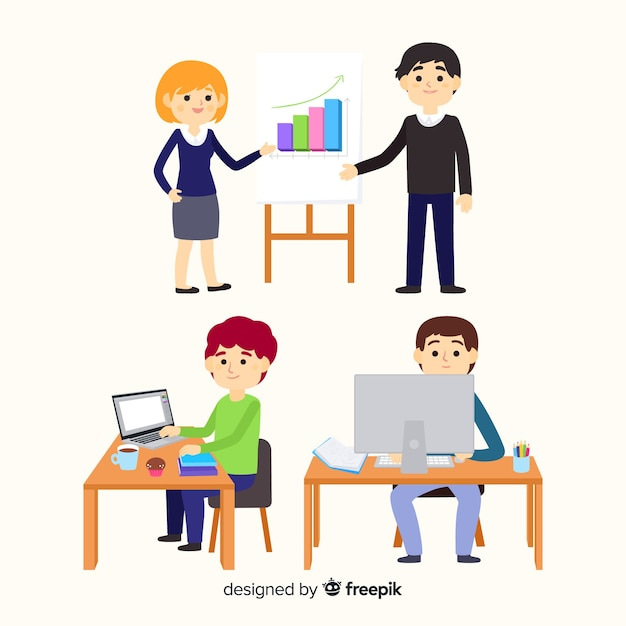 People working at the office collection Free Vector