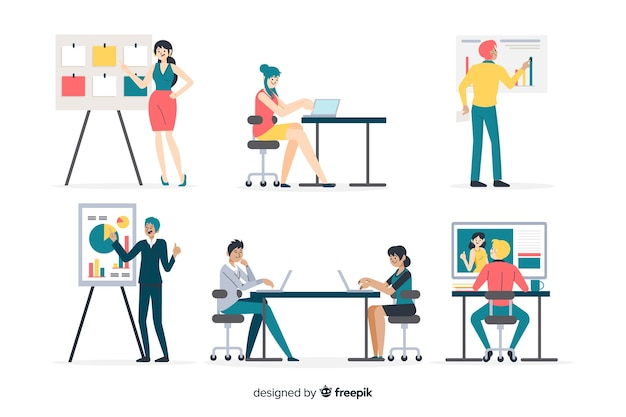 People working at the office flat design Free Vector