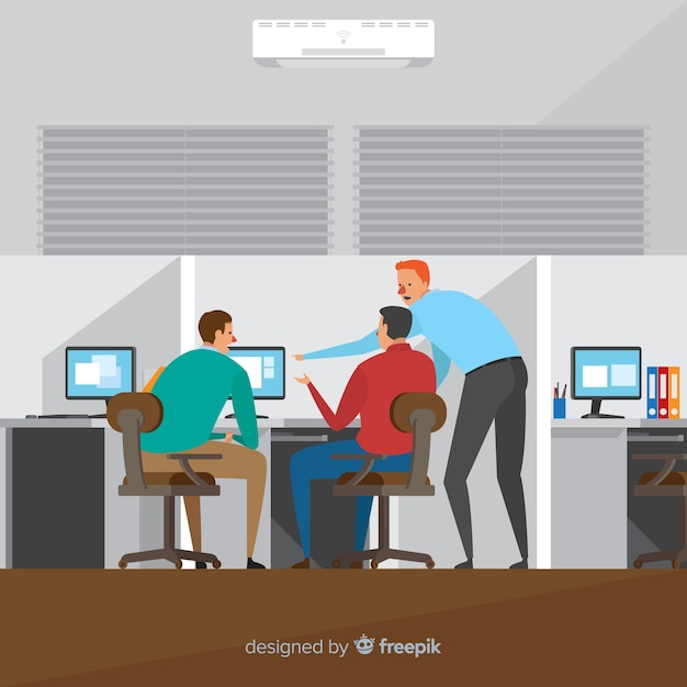 People working at the office illustration Free Vector