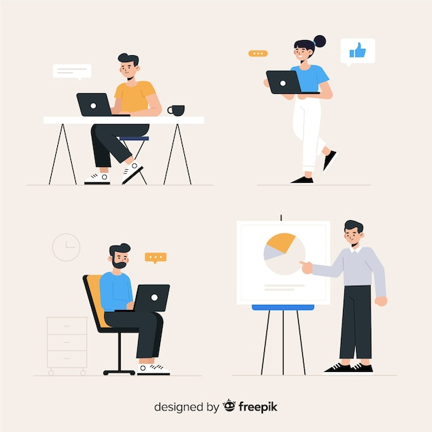 People working at the office Free Vector
