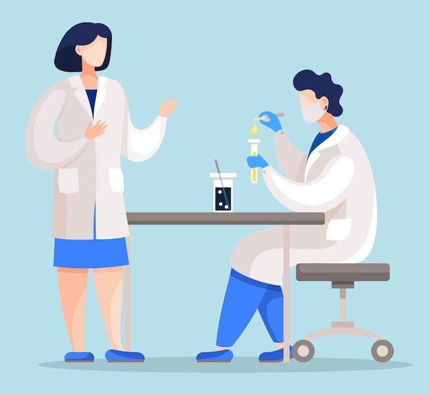 Люди, работающие в медицинской лаборатории, смешивают вещества и нагревают химические жидкости. Premium векторы