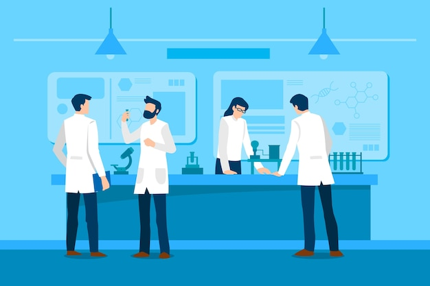 People working in science lab concept Free Vector