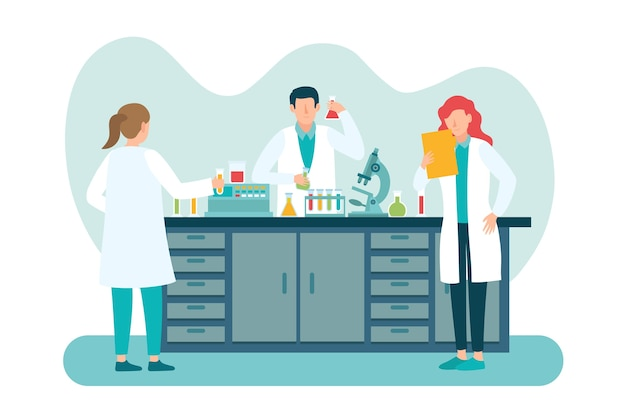 People working in a science lab Free Vector