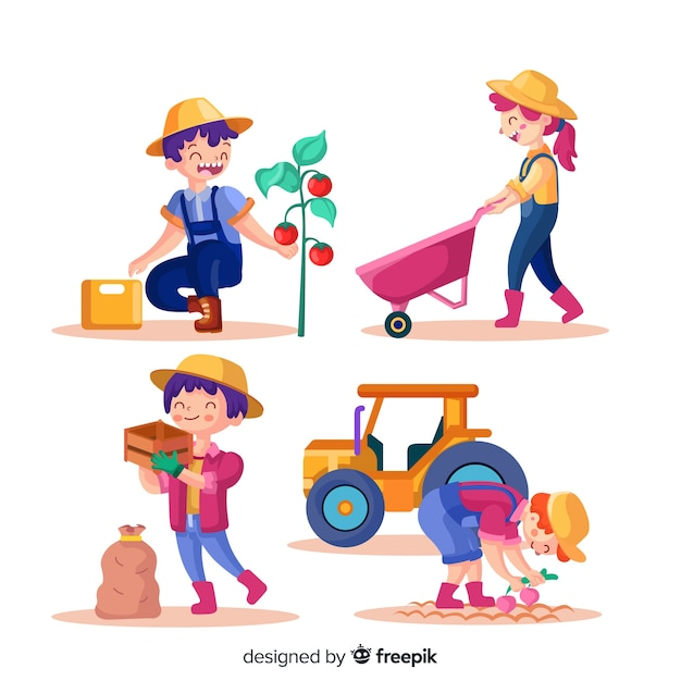 People working together in agriculture illustrated Free Vector