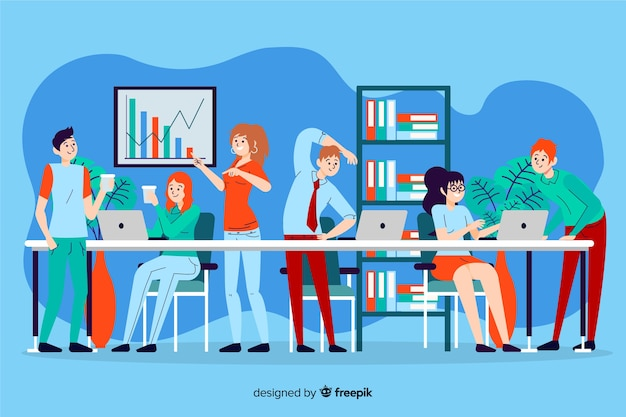 People working together illustrated Free Vector