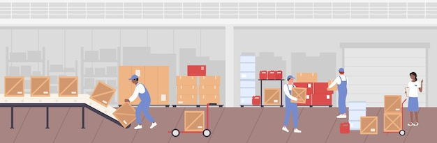 People working in warehouse storage and unload boxes from conveyor line Premium Vector
