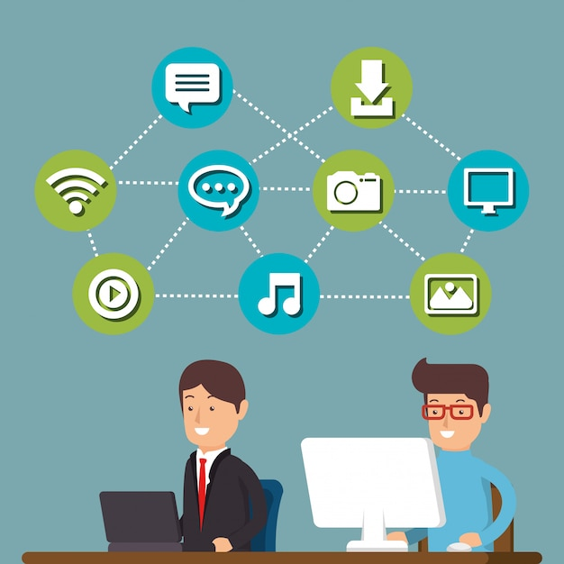 People working with social media icons Free Vector