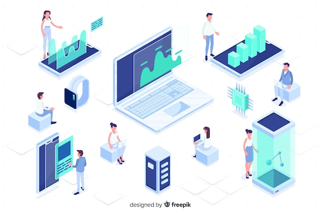 People working with technology isometric design Free Vector