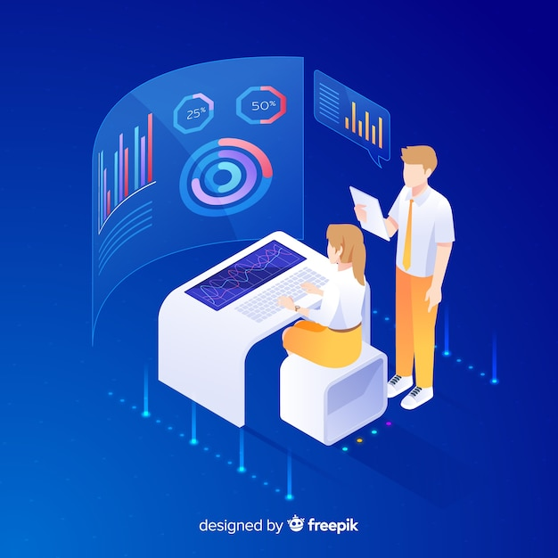 People working with technology isometric style Free Vector
