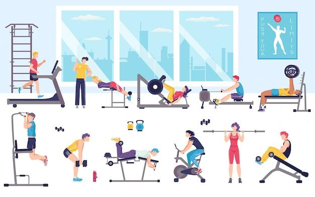 체육관 그림에서 사람들이 운동, 스포츠 운동을하는 만화 남자 여자 캐릭터, 화이트 피트니스 활동 프리미엄 벡터