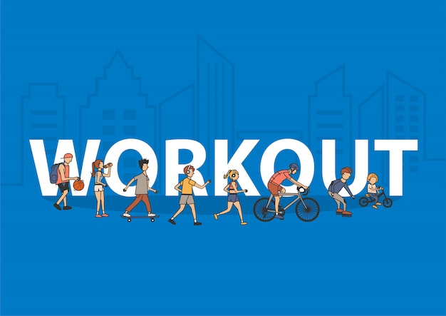 People workout life style idea concept with flat big letters Premium Vector