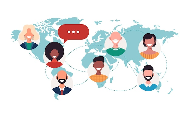 People on world map chat bubbles global communication teamwork connection concept Premium Vector