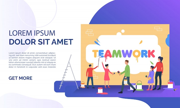 People writing word teamwork on wall and sample text Free Vector