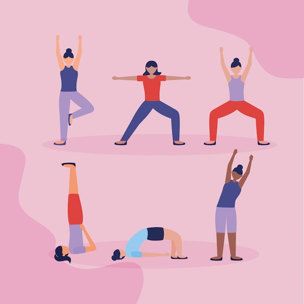 People yoga outdoor in flat style Free Vector