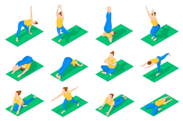 People in yoga poses isometric icons Free Vector