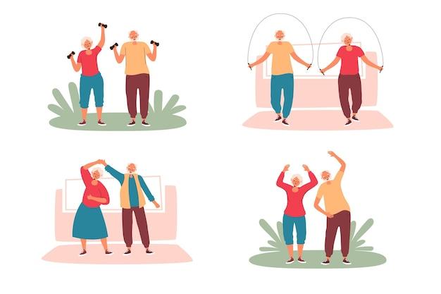 Люди молодые в душе занимаются спортом на открытом воздухе Бесплатные векторы