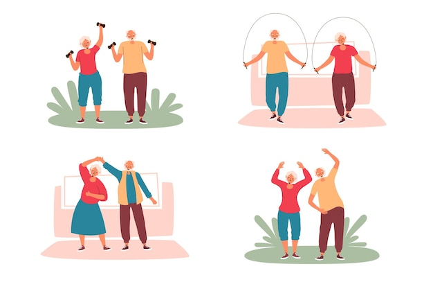 People young at heart doing sport outdoors Free Vector