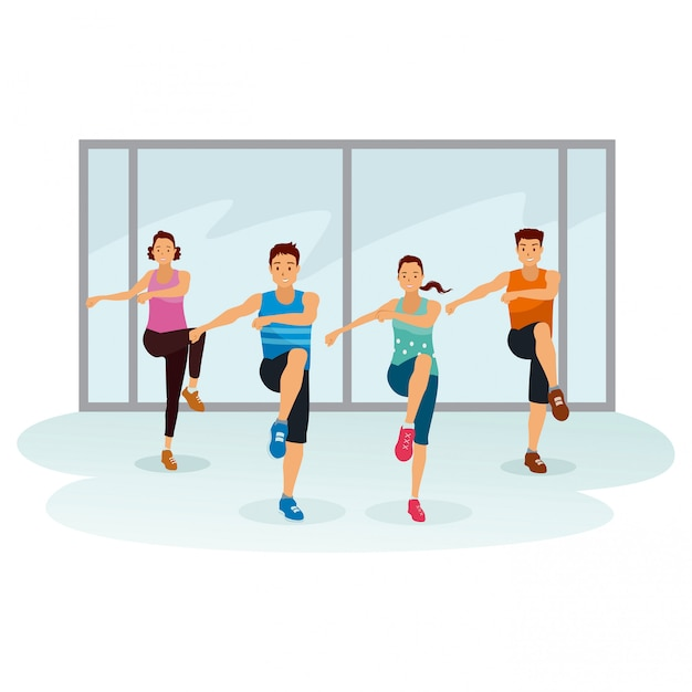 Peoples are exercising together at gymnastic room Premium Vector