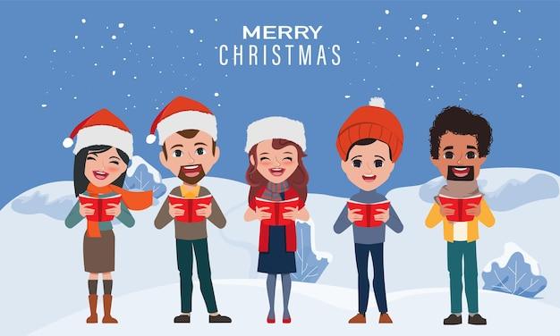 Народная рождественская песня поет. Premium векторы