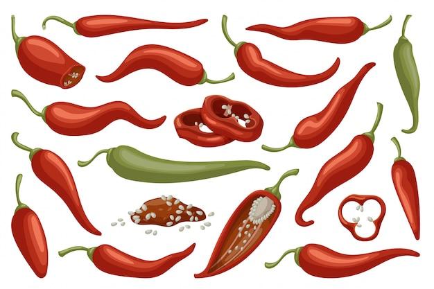 Pepper of chili cartoon icon set Premium Vector