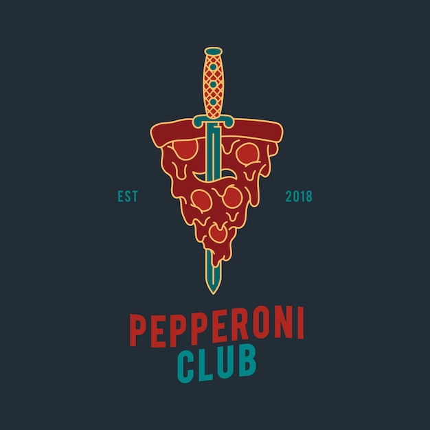 Pepperoni pizza design vector Free Vector