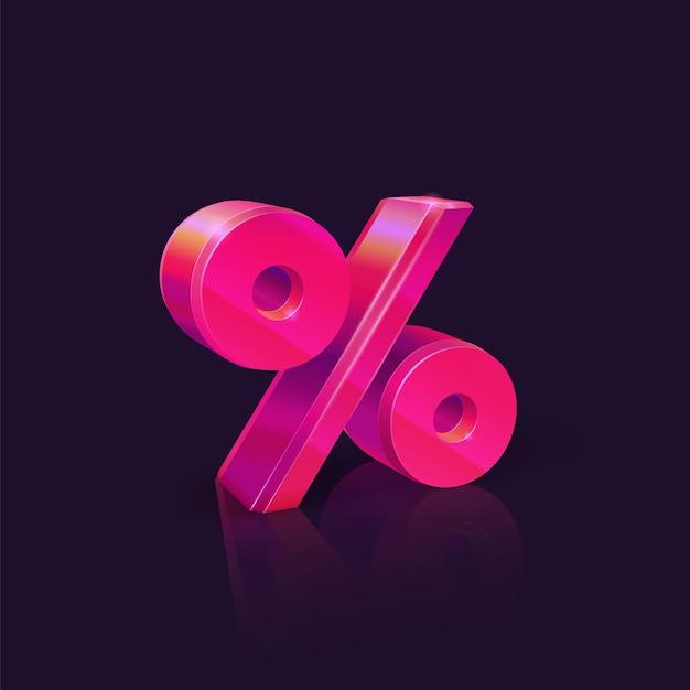 Знак процента. неоновый розовый знак процента на темном фоне. сезонные распродажи и скидки. Premium векторы
