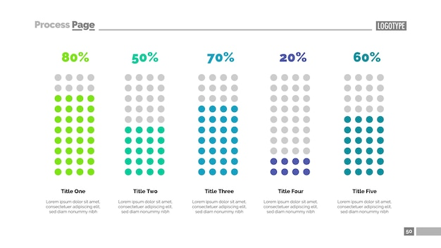 Percentage chart with five elements Free Vector