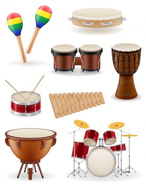 Percussion musical instruments set stock vector illustration Premium Vector