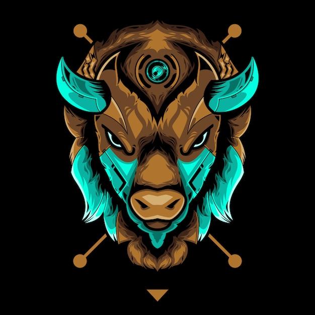 Perfect bison head vector illustration in black background Premium Vector