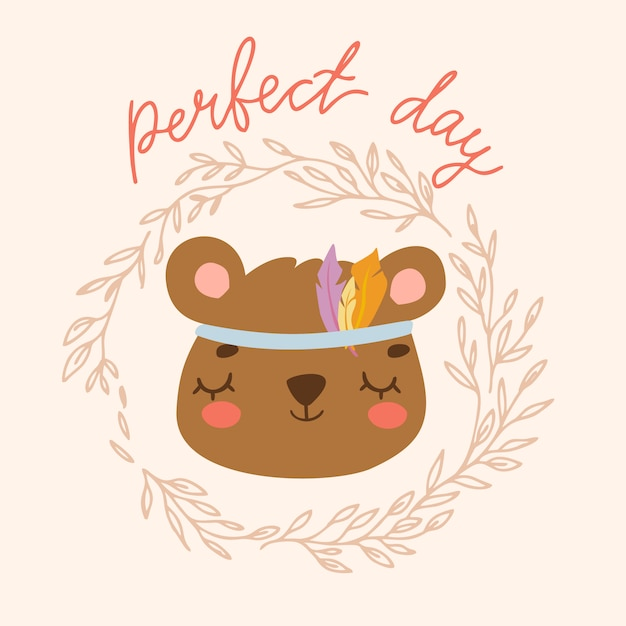 Perfect day bear Free Vector