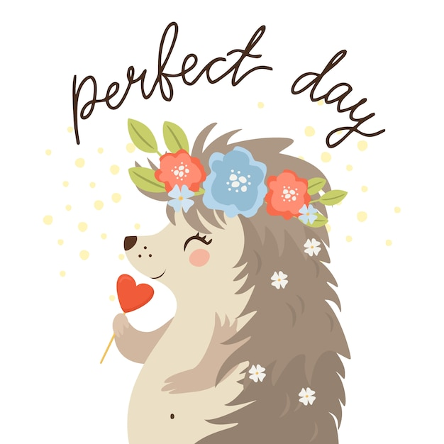 Perfect day, hedgehog with candy Free Vector