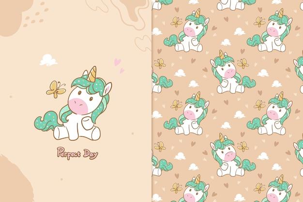 Perfect day unicorn seamless pattern Premium Vector