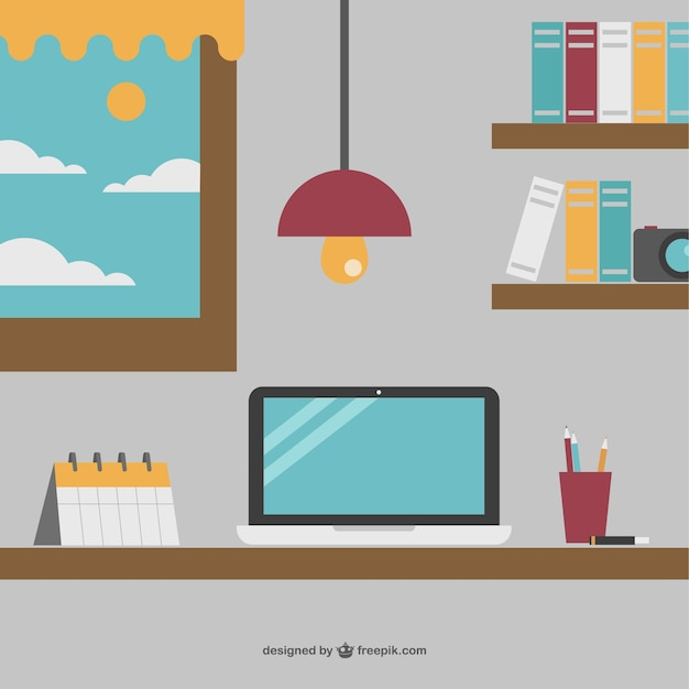 Perfect desk for a businessman Free Vector