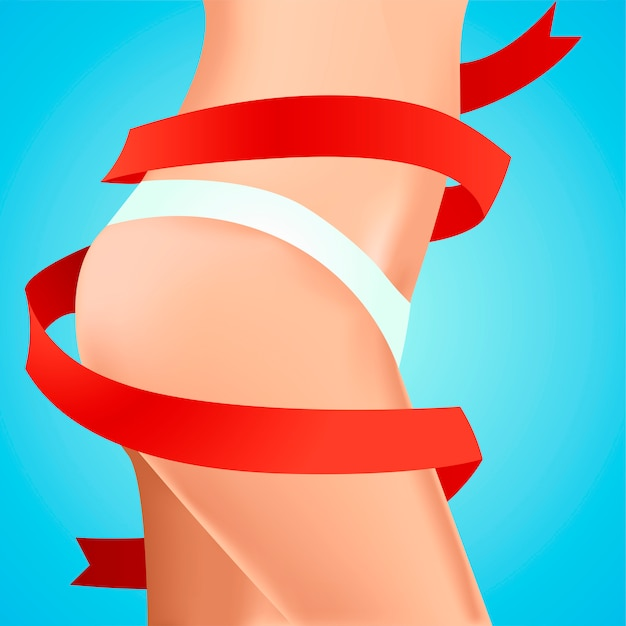 Perfect feminine hips. work on the body. result with red ribbon. Free Vector