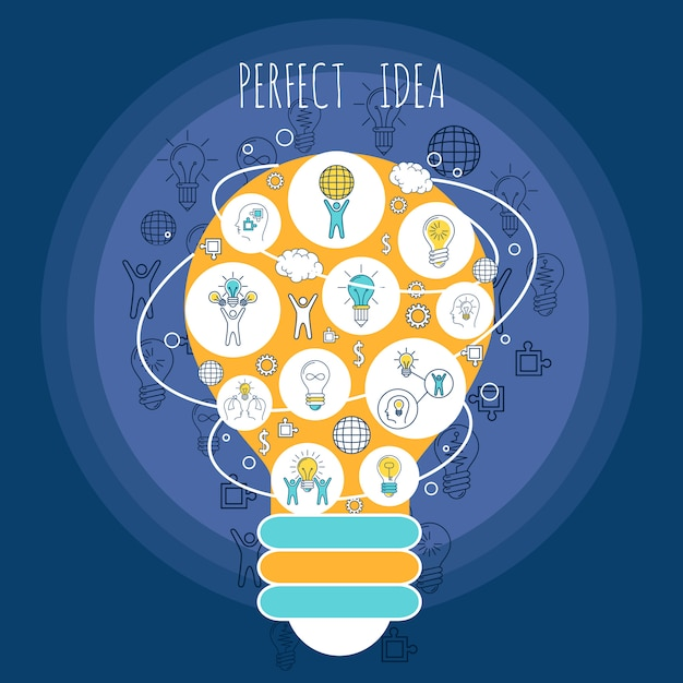 Perfect idea illustration with elements composition Free Vector